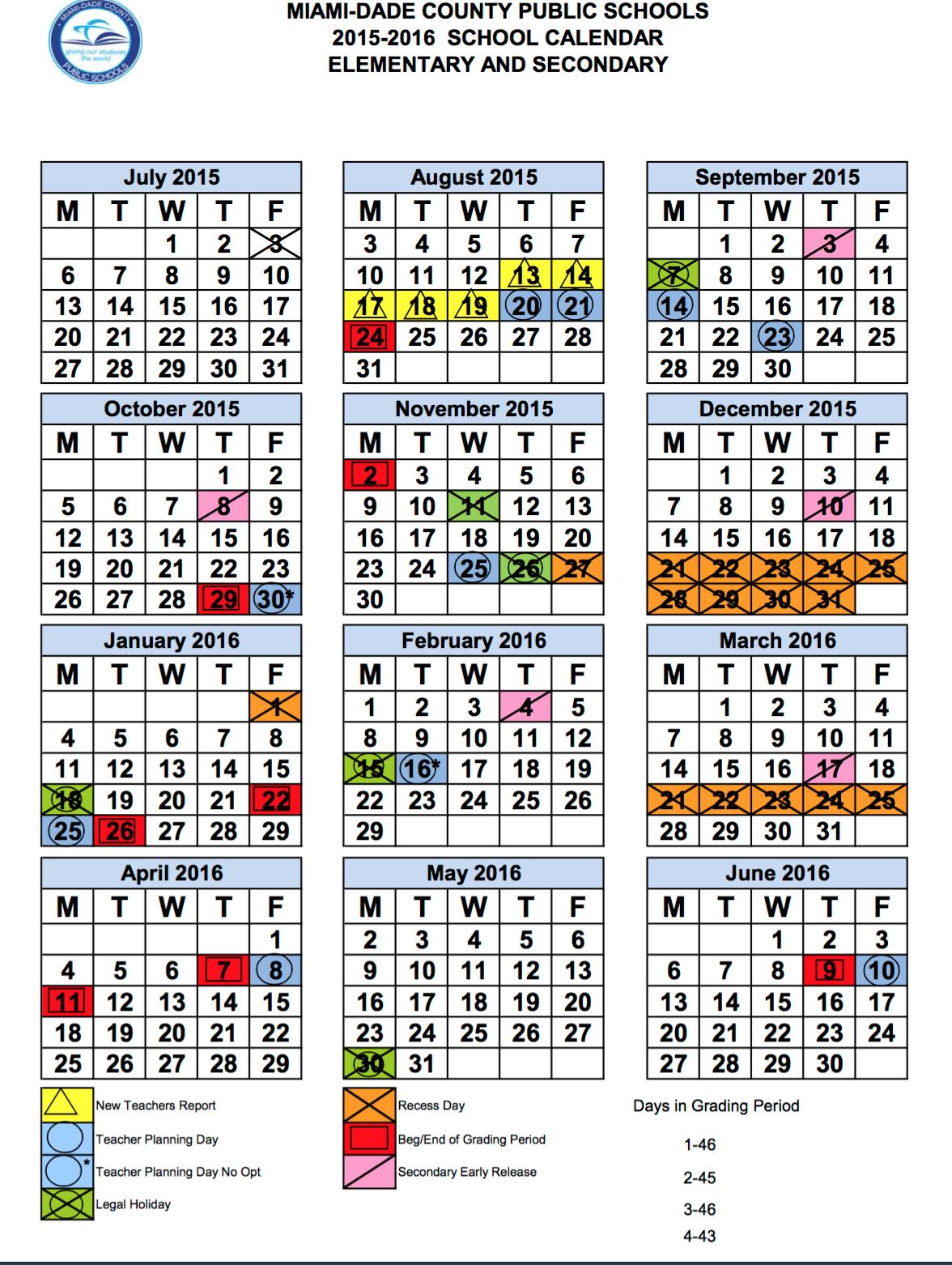 Miami Dade School Calendar 2018 2016 Aigb